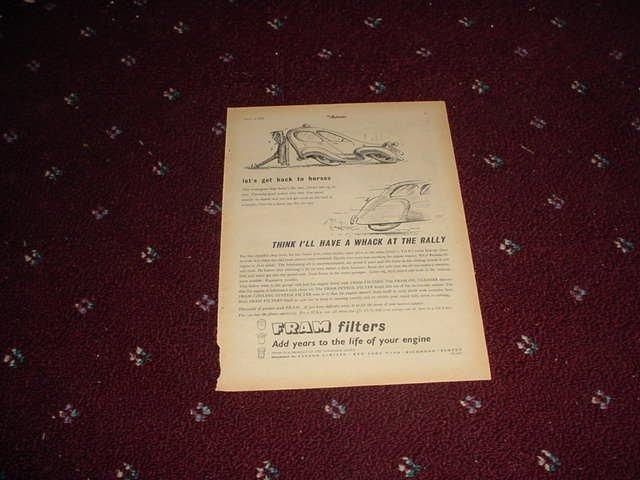1952 Fram Oil Filter ad #1 from the UK