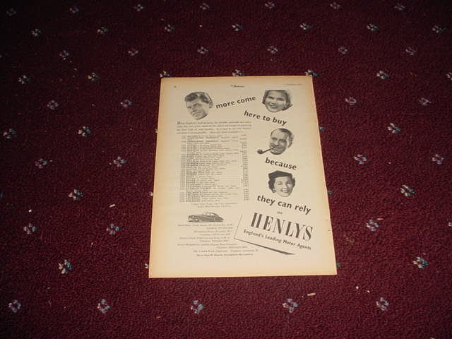 1954 Henlys Motor Agents ad from the UK