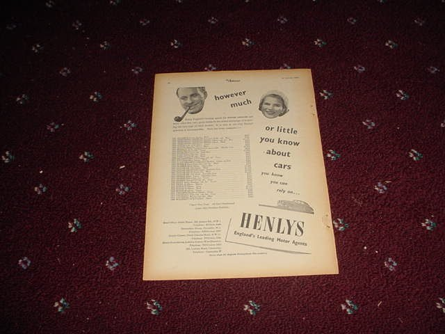 1955 Henlys Motor Agents ad #1 from the UK