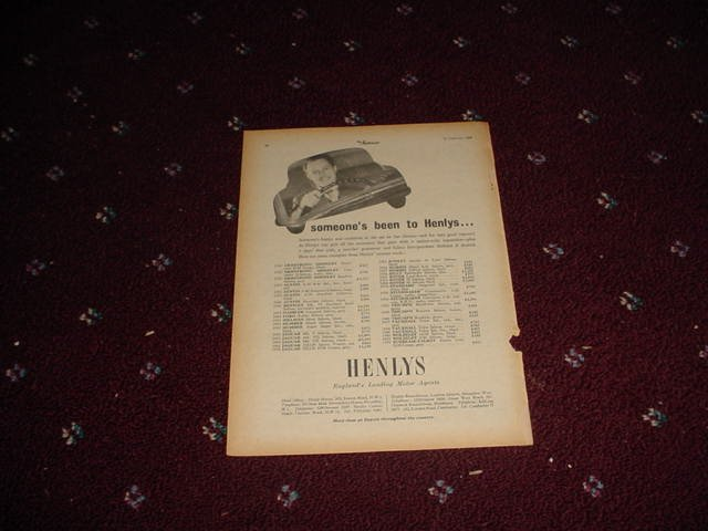 1955 Henlys Motor Agents ad #2 from the UK