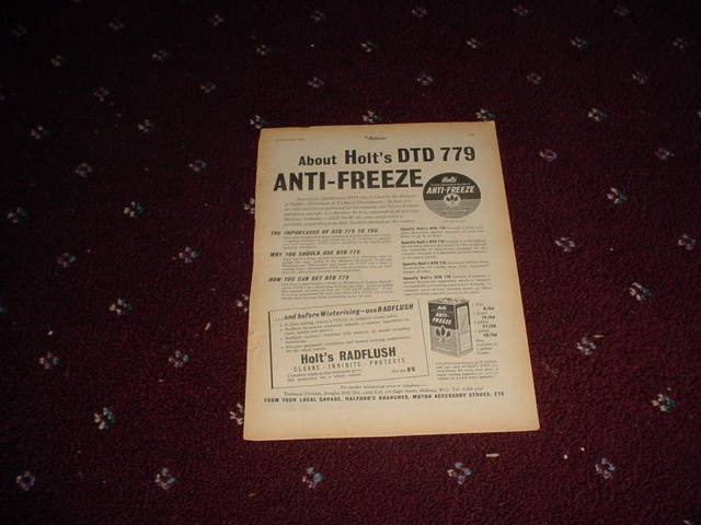 1954 Holts Anti-Freeze ad from the UK