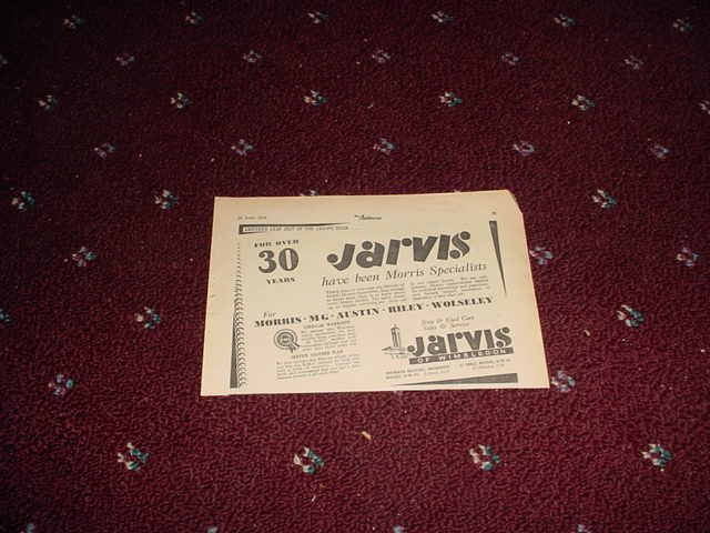 1956 Jarvis Motor Sales ad from the UK