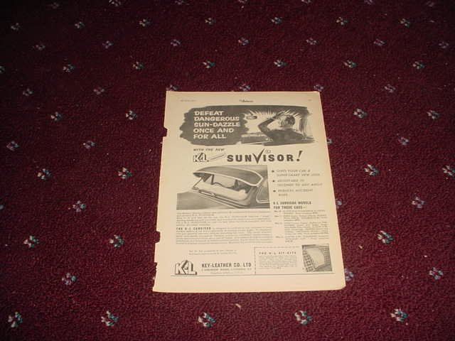 1956 KL Sunvisor ad from the UK