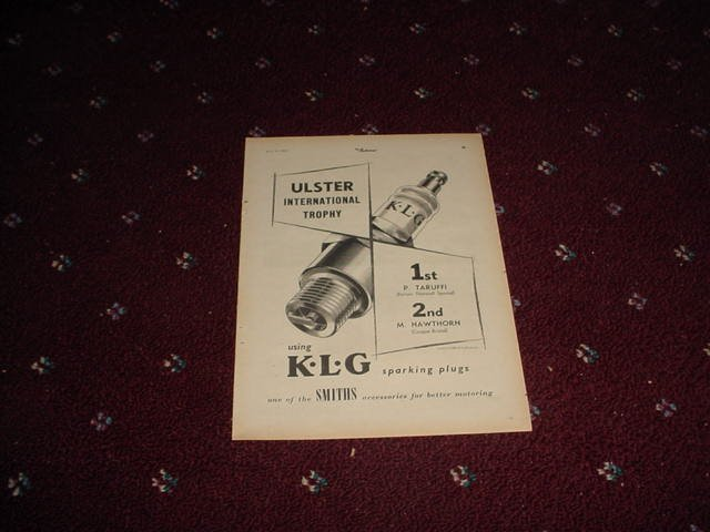 1952 KLG Spark Plugs ad from the UK