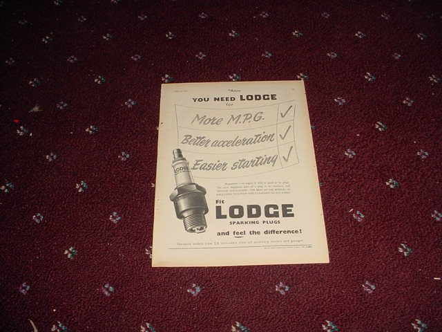 1952 Lodge Spark Plugs ad #2 from the UK