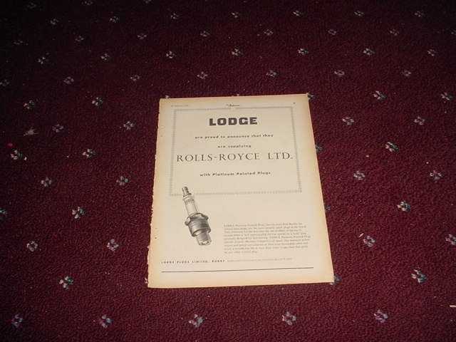 1955 Lodge Spark Plugs ad from the UK for Rolls Royce