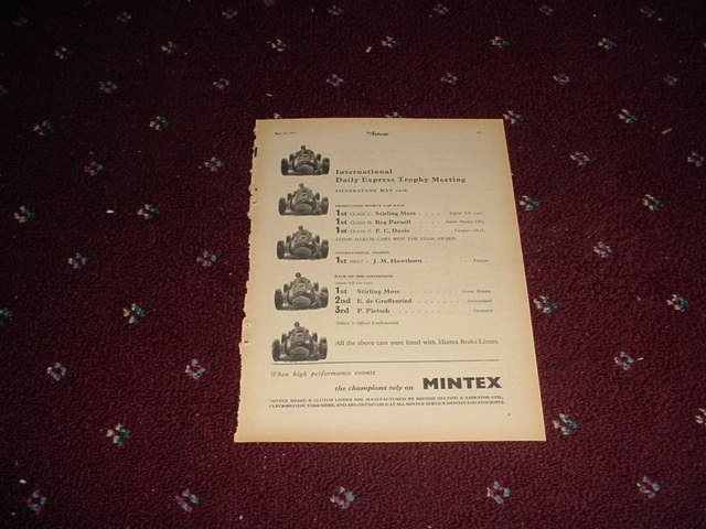 1952 Mintex Brake Liners ad #1 from the Uk