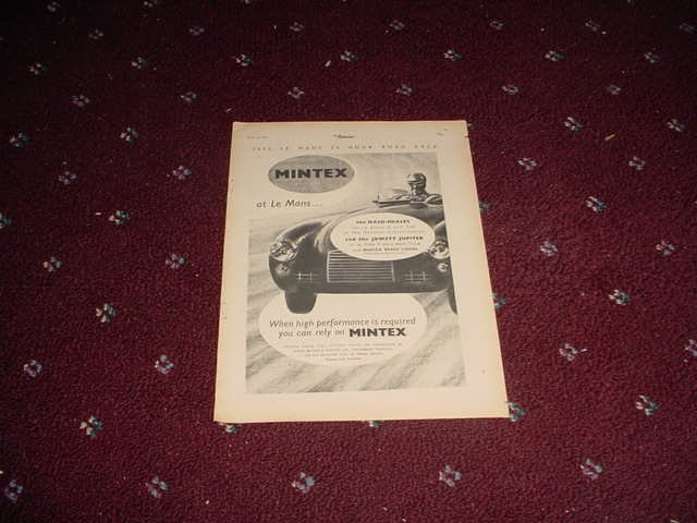 1952 Mintex Brake Liners Lemans ad from the UK