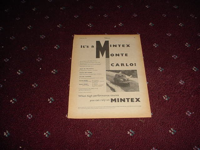 1955 Mintex Brake Liners ad from the UK