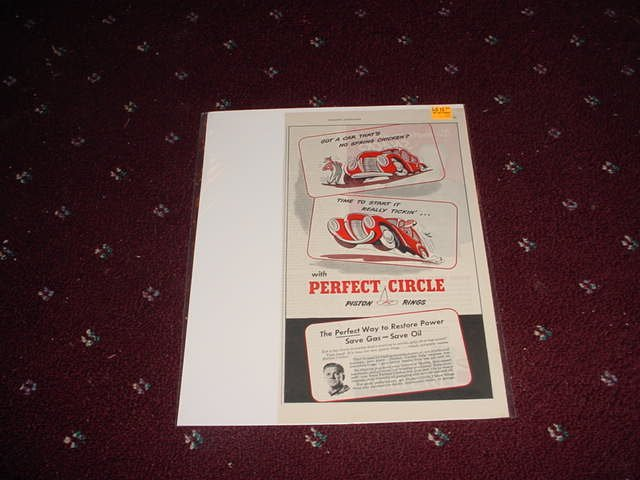1946 Perfect Circle Piston Rings ad