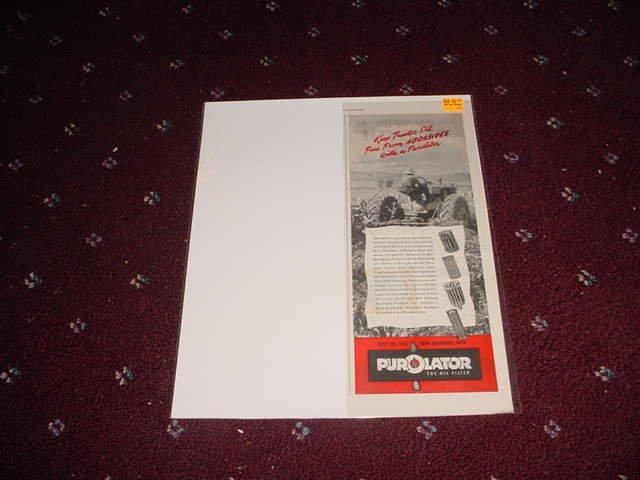 1946 Purolator Oil Filter ad