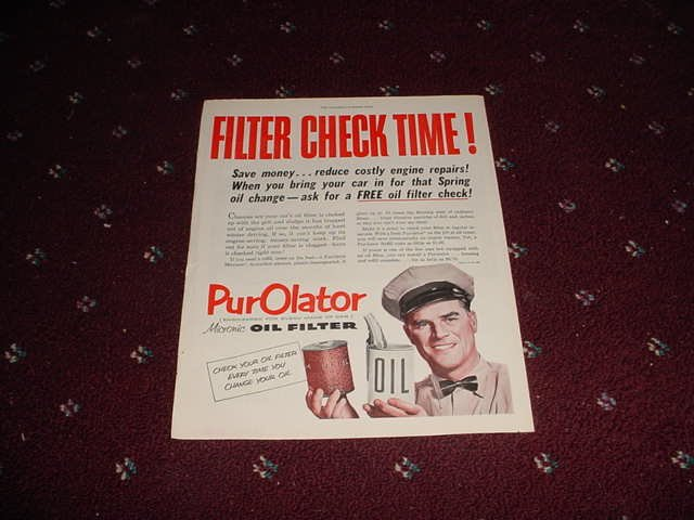 1952 Purolator Oil Filter ad #1