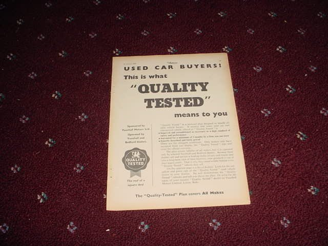 1955 Quality Tested ad from the UK
