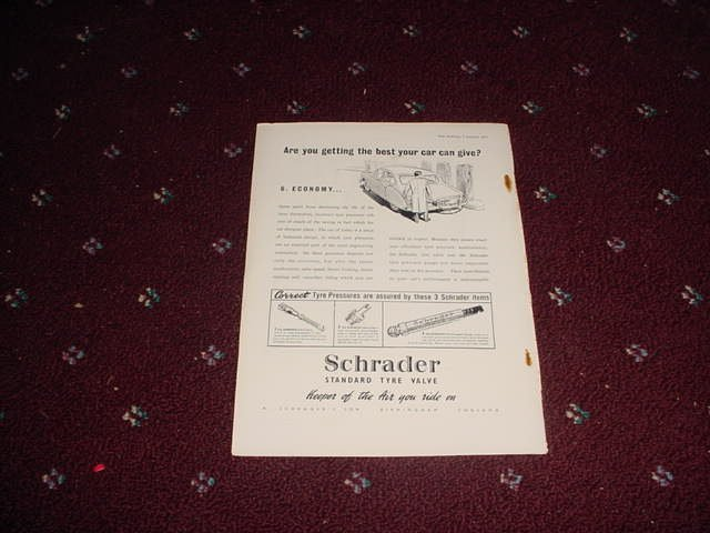 1955 Schrader Tire Valve ad from the UK
