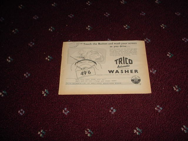 1954 Trico Windscreen Washer ad from the UK