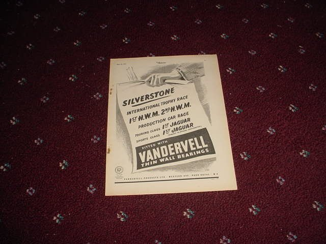 1952 Vandervell Bearings ad #3 from the UK