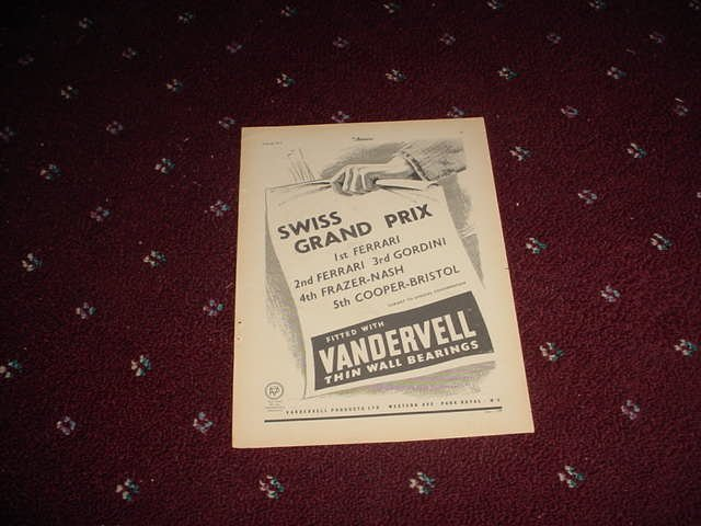 1952 Vandervell Bearings ad #4 from the UK