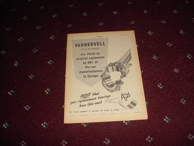 1954 Vandervell Bearings ad from the UK