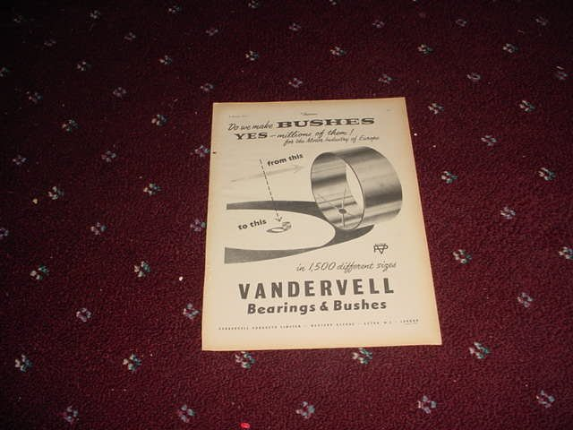 1955 Vandervell Bearings ad #2 from the UK
