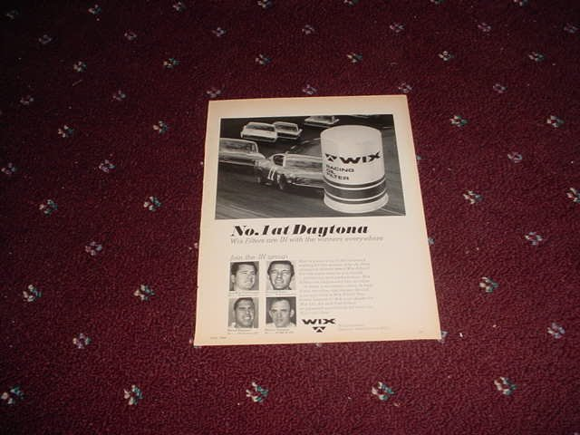 1969 Wix Filters ad with Richard Petty & David Pearson