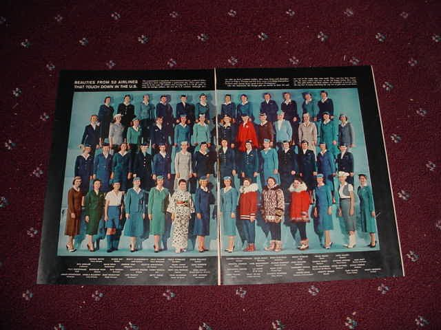 2 Page Photo of Stewardesses From 53 Different Airlines