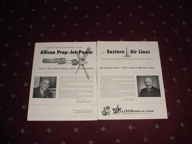 1956 Allison Prop Jet ad with Eddie Rickenbacker