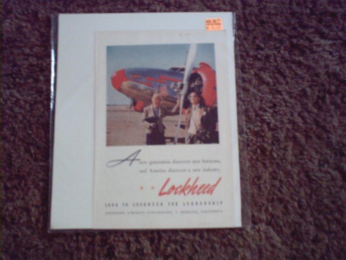 1939 Lockheed Aircraft ad