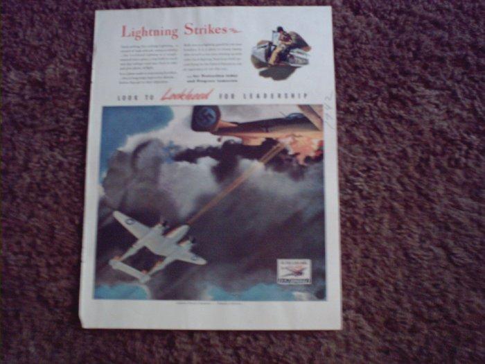 1942 Lockheed P-38 Lightning Aircraft ad