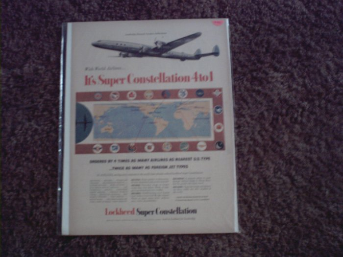 Lockheed Super Constellation Aircraft ad