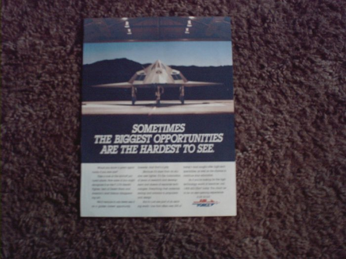 F117A Stealth Bomber ad for Air Force