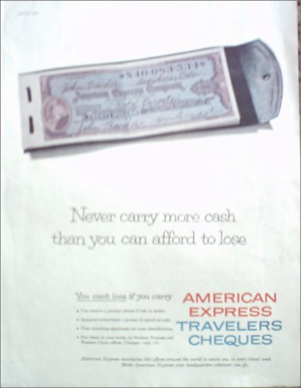 1956 American Express Travelers Cheques ad