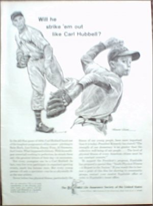 1963 Equitable Life Insurance ad featuring Carl Hubbell