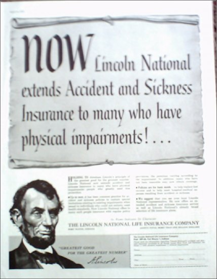 1956 Lincoln National Life Insurance ad