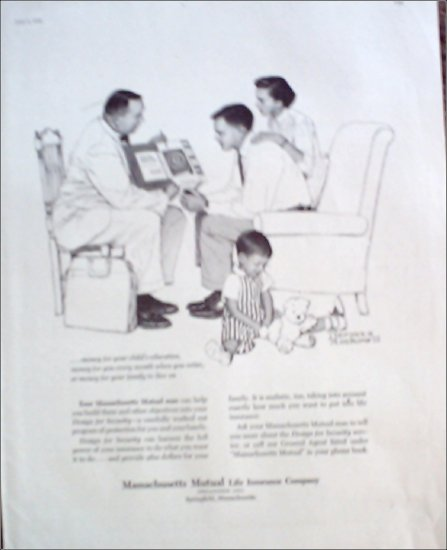 1956 Massachusetts Mutual Life Insurance Norman Rockwell ad