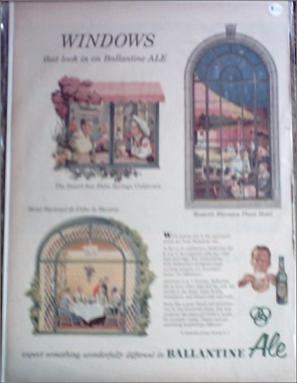Ballantine Ale ad featuring Desert Inn, Palm Springs, Bostons Sheraton