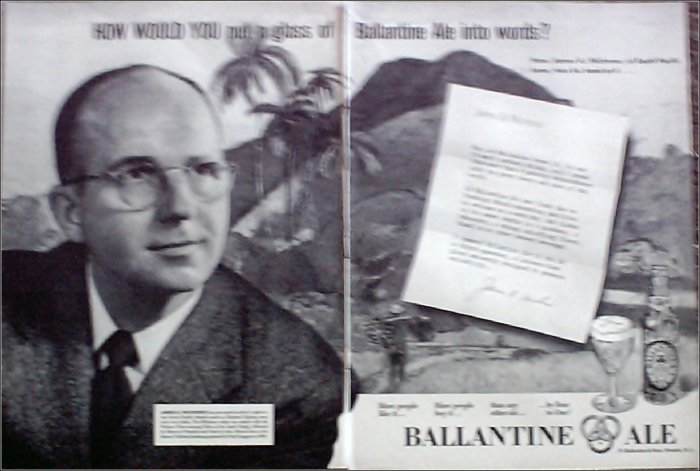 Ballantine Ale ad featuring James A Michener