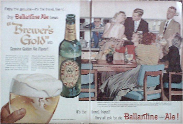 1957 Ballantine Ale Couple ad