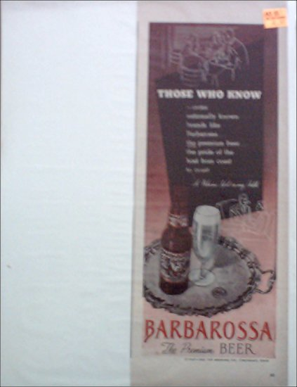 1947 Barbarossa Beer ad