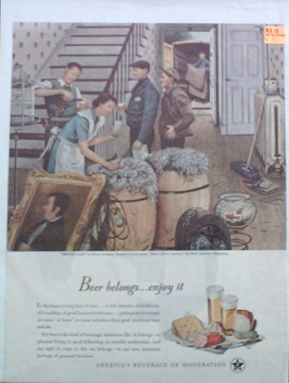 1947 Beer Belongs ad Moving Day number 2 in series