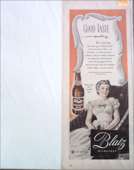 1943 Blatz Beer ad