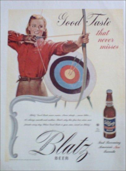 1945 Blatz Beer Archery ad