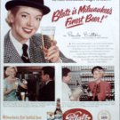 1951 Blatz Beer ad featuring Pamela Britton