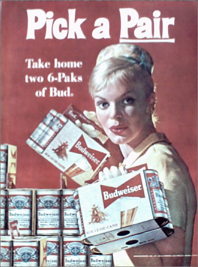 1961 Budweiser Beer Woman ad