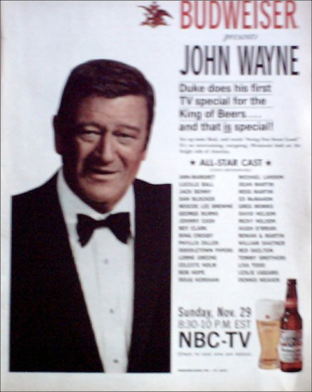 1970 Budweiser Beer ad featuring John Wayne