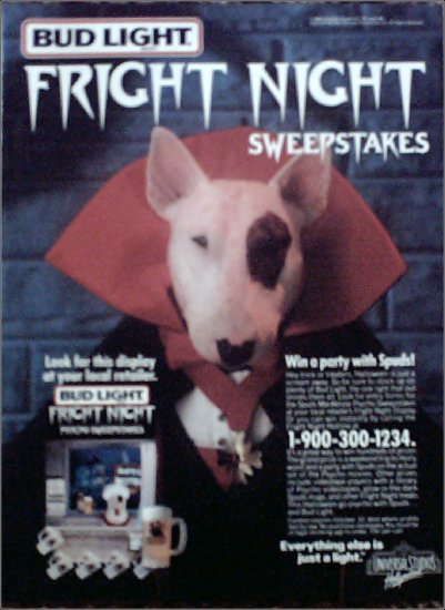 1988 Bud Light Spuds MacKenzie Halloween Contest Beer ad