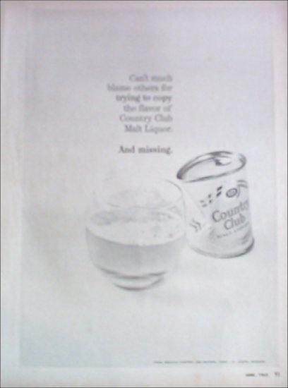 1965 Country Club Malt Liquor ad