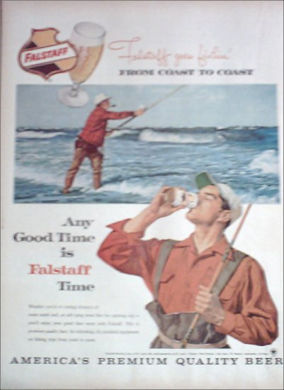 1960 Falstaff Beer Fisherman ad