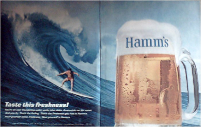 1965 Hamms Beer Surfer ad