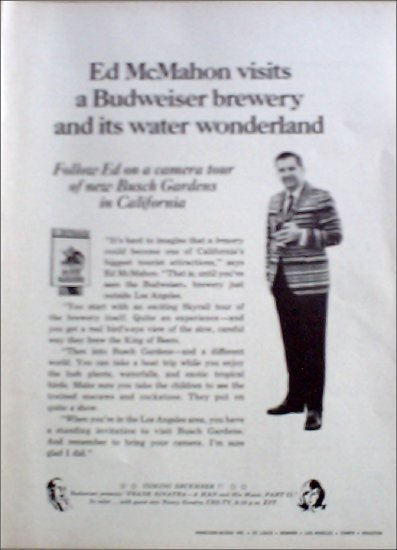 Budweiser Beer ad featuring Ed McMahon at Busch Gardens