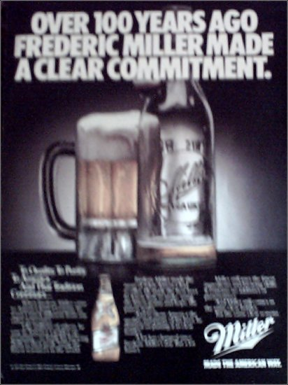 1985 Miller Beer Clear Commitment ad